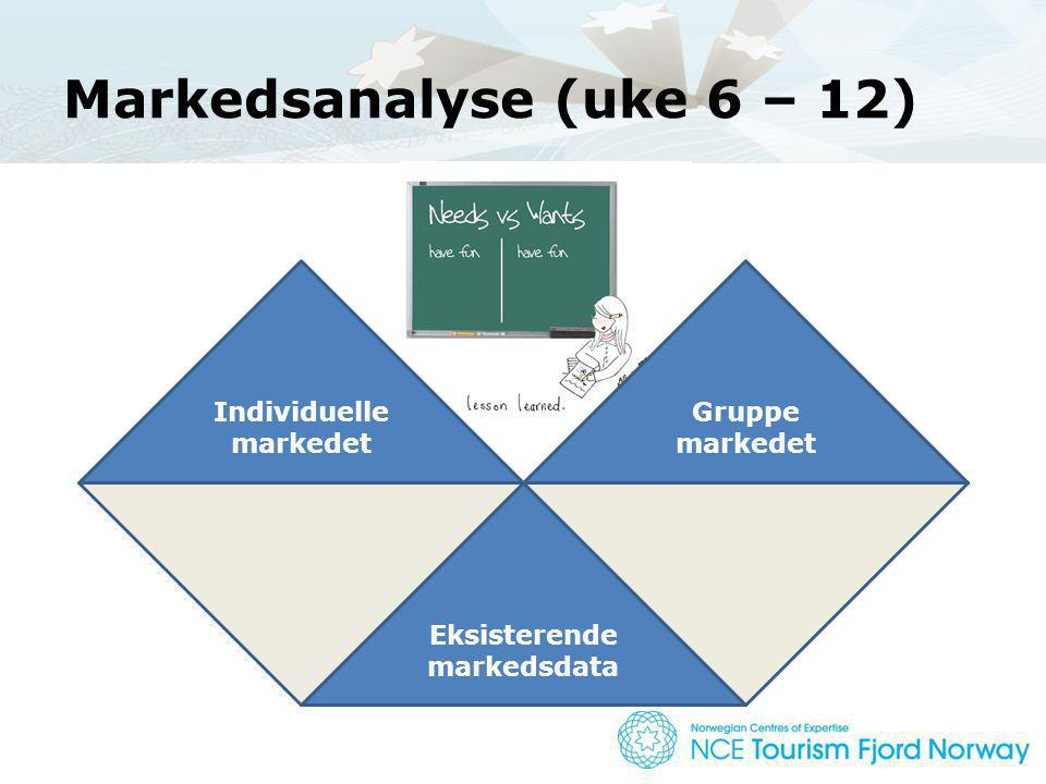 Markedsanalyse (uke 6 – 12) Individuelle markedet Gruppe markedet Eksisterende markedsdata