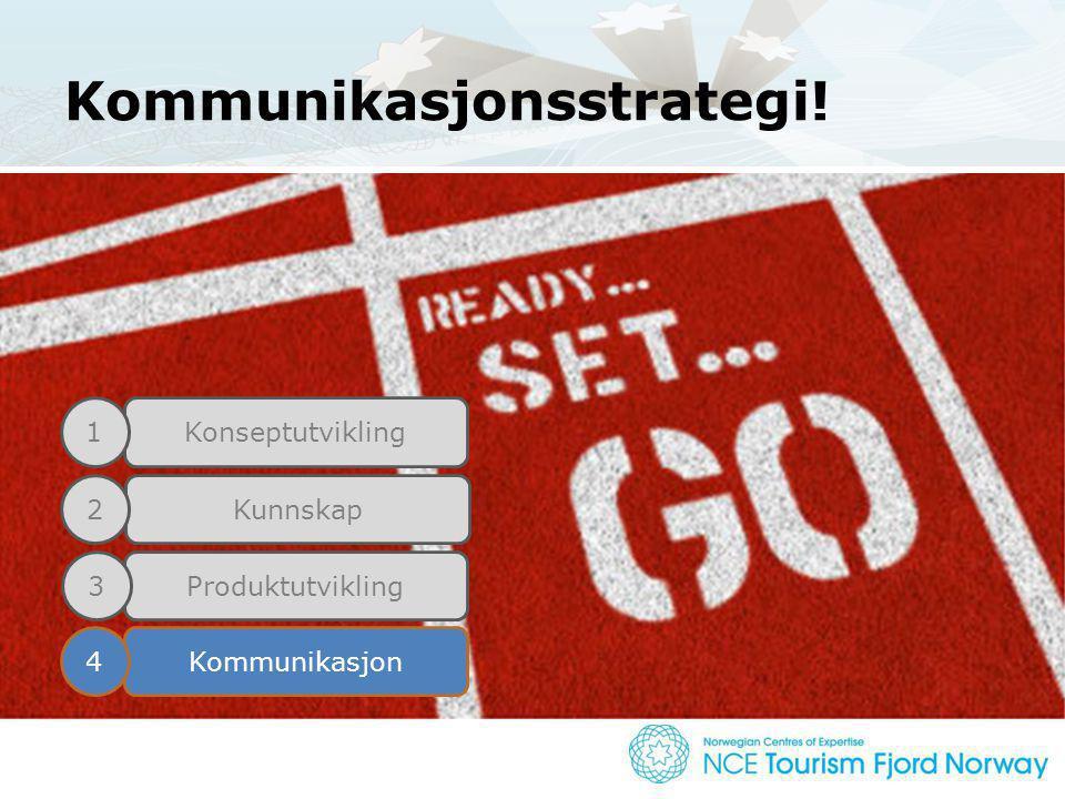 Kommunikasjonsstrategi! Konseptutvikling Kunnskap Produktutvikling Kommunikasjon 1 2 3 4