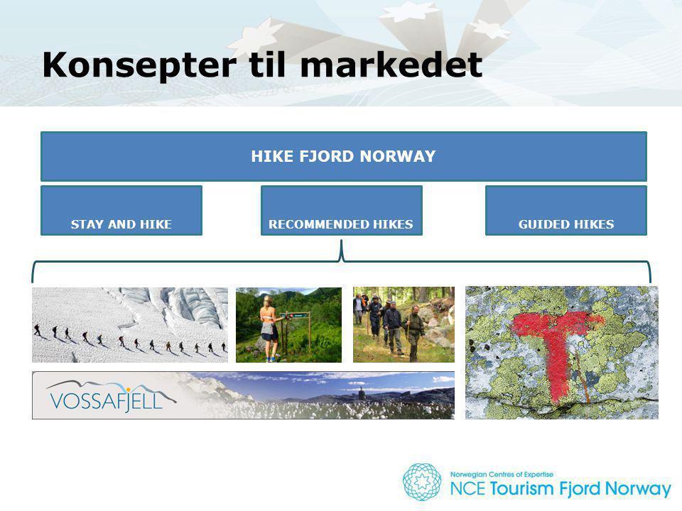 Konsepter til markedet HIKE FJORD NORWAY En organisert innsats for å forsterke STAY AND HIKERECOMMENDED HIKESGUIDED HIKES