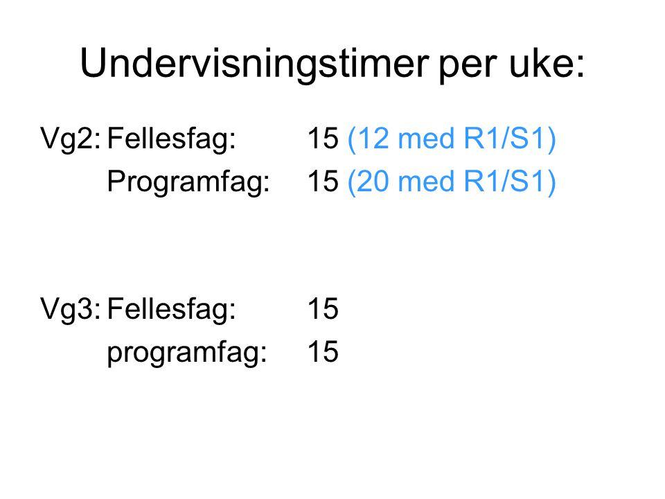 Undervisningstimer per uke: Vg2:Fellesfag:15 (12 med R1/S1) Programfag:15 (20 med R1/S1) Vg3:Fellesfag:15 programfag:15