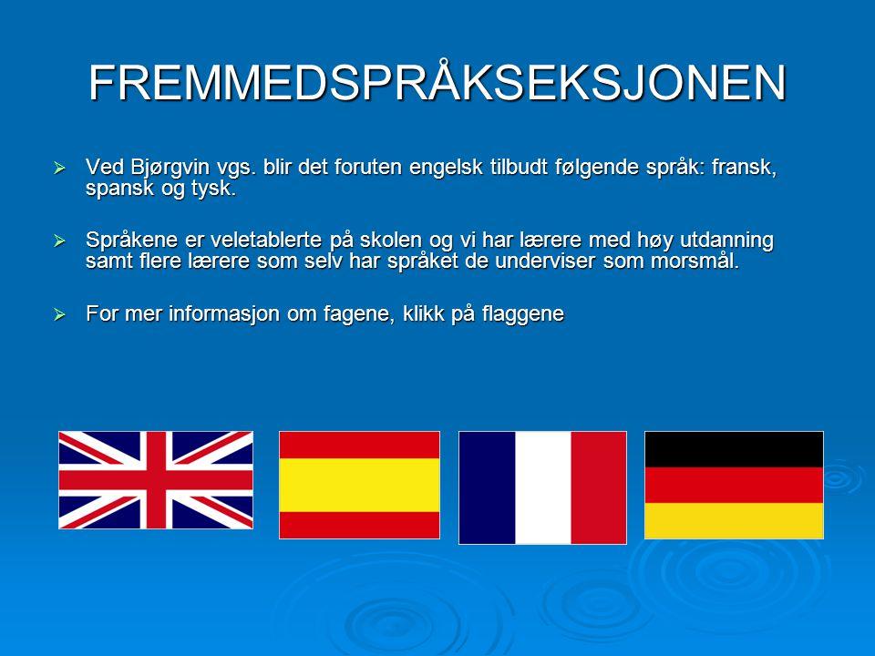 FREMMEDSPRÅKSEKSJONEN  Ved Bjørgvin vgs. blir det foruten engelsk tilbudt følgende språk: fransk, spansk og tysk.  Språkene er veletablerte på skole