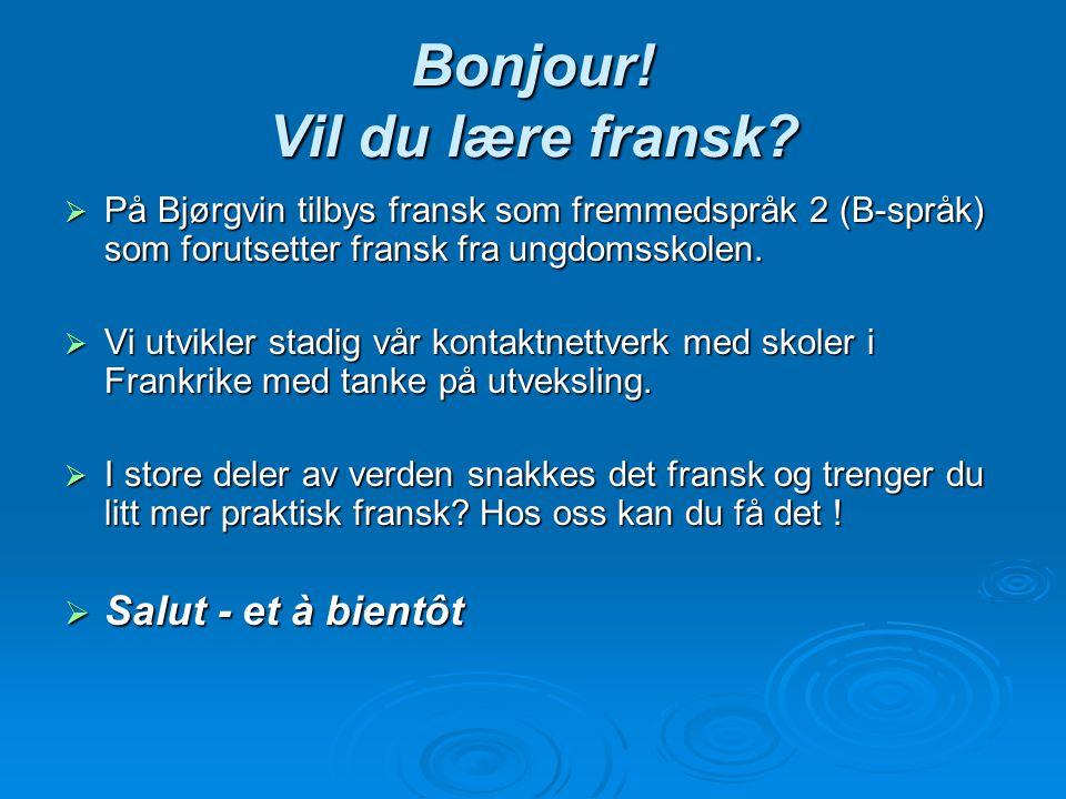 Bonjour! Vil du lære fransk?  På Bjørgvin tilbys fransk som fremmedspråk 2 (B-språk) som forutsetter fransk fra ungdomsskolen.  Vi utvikler stadig v