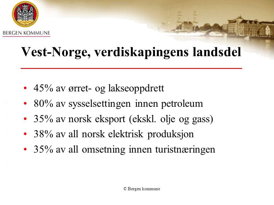 © Bergen kommune Vest-Norge, verdiskapingens landsdel 45% av ørret- og lakseoppdrett 80% av sysselsettingen innen petroleum 35% av norsk eksport (eksk