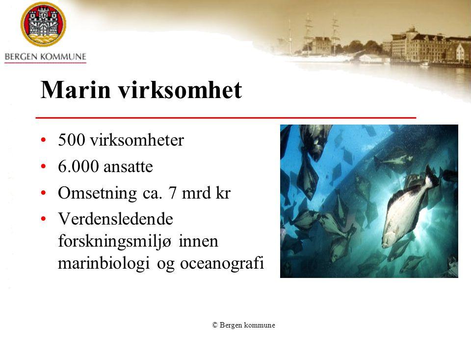 © Bergen kommune Marin virksomhet 500 virksomheter 6.000 ansatte Omsetning ca. 7 mrd kr Verdensledende forskningsmiljø innen marinbiologi og oceanogra