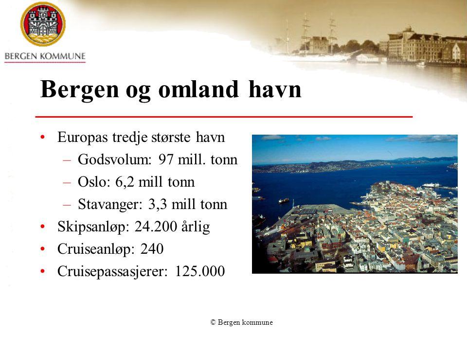 © Bergen kommune Reiseliv Omsetning i Bergen: 5,5 mrd kr Sysselsetting: vel 8000 personer Naturgitte fortrinn – fjorder og fjell Bergen – kåret til en av de 10 viktigste byene i verden.