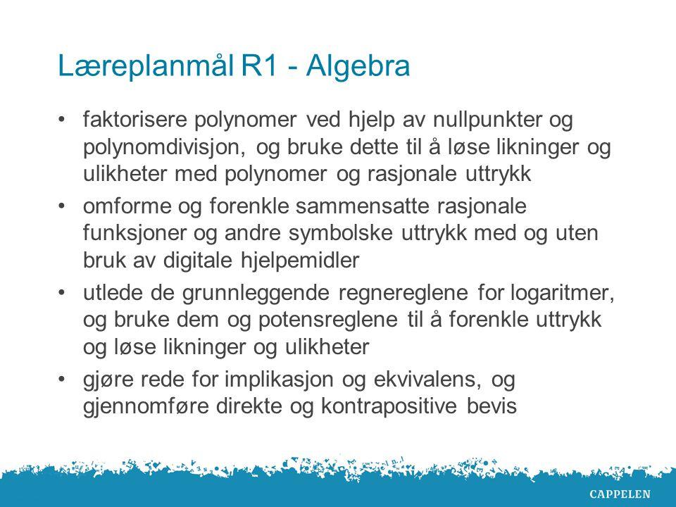 Algebra i R1 Repeterer mye fra 1T Gir elevene en grundig innføring i det nye stoffet Eget delkapittel om bevis Mange bevis i teksten Vanskelige bevis kommer til slutt i delkapitlene Elevene får bevis til skriftlig eksamen