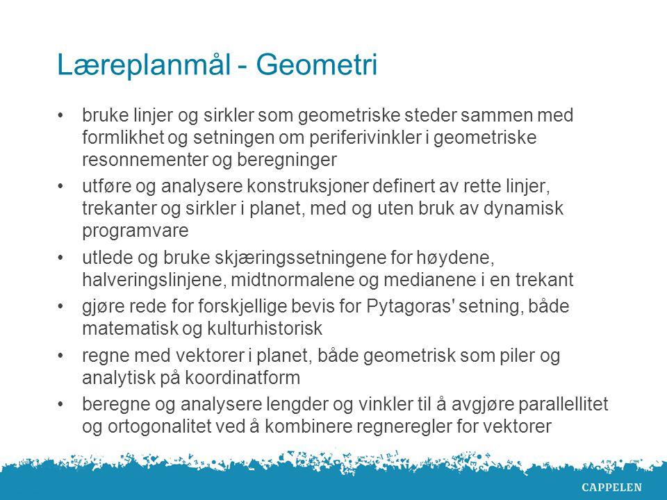Geometri i R1 Dynamisk programvare: GeoGebra Også støtte for annen programvare på sinus.cappelen.no Grundig gjennomgang av den klassiske geometrien Mye hjelp og støtte i den dynamiske programvaren på nettet Mange utforskningsoppgaver