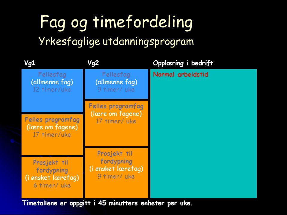 Fag og timefordeling Yrkesfaglige utdanningsprogram Fellesfag (allmenne fag) 12 timer/uke Normal arbeidstidFellesfag (allmenne fag) 9 timer/ uke Felles programfag (lære om fagene) 17 timer/uke Felles programfag (lære om fagene) 17 timer/ uke Prosjekt til fordypning (i ønsket lærefag) 6 timer/ uke Prosjekt til fordypning (i ønsket lærefag) 9 timer/ uke Timetallene er oppgitt i 45 minutters enheter per uke.