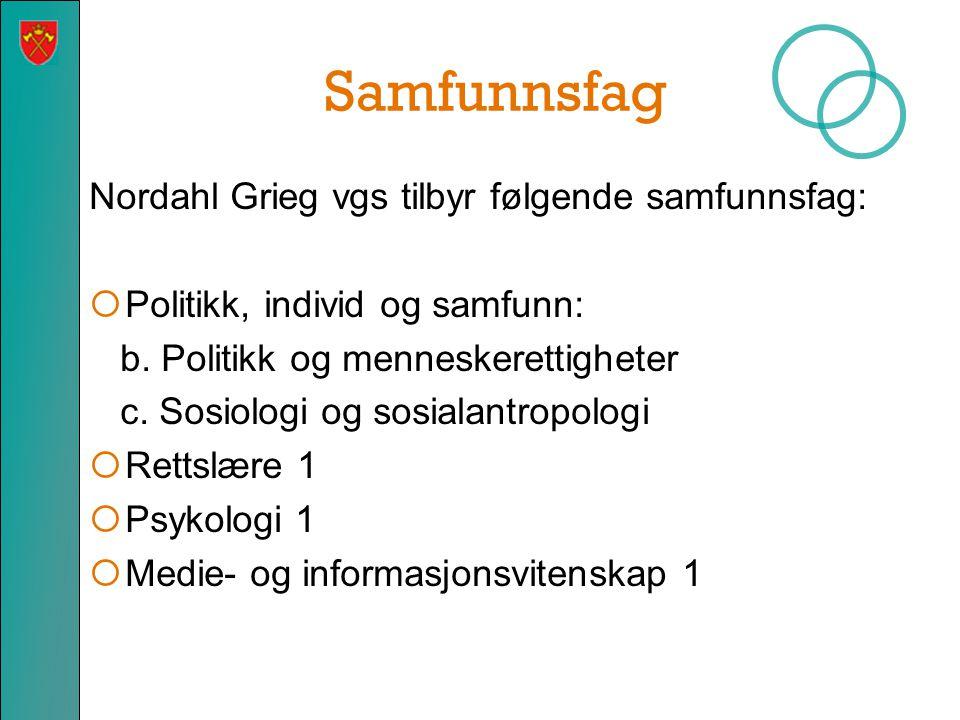 Samfunnsfag Nordahl Grieg vgs tilbyr følgende samfunnsfag:  Politikk, individ og samfunn: b. Politikk og menneskerettigheter c. Sosiologi og sosialan