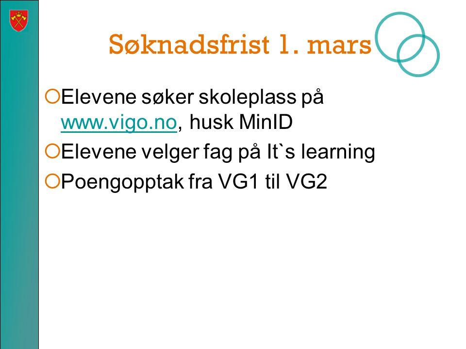 Søknadsfrist 1. mars  Elevene søker skoleplass på www.vigo.no, husk MinID www.vigo.no  Elevene velger fag på It`s learning  Poengopptak fra VG1 til