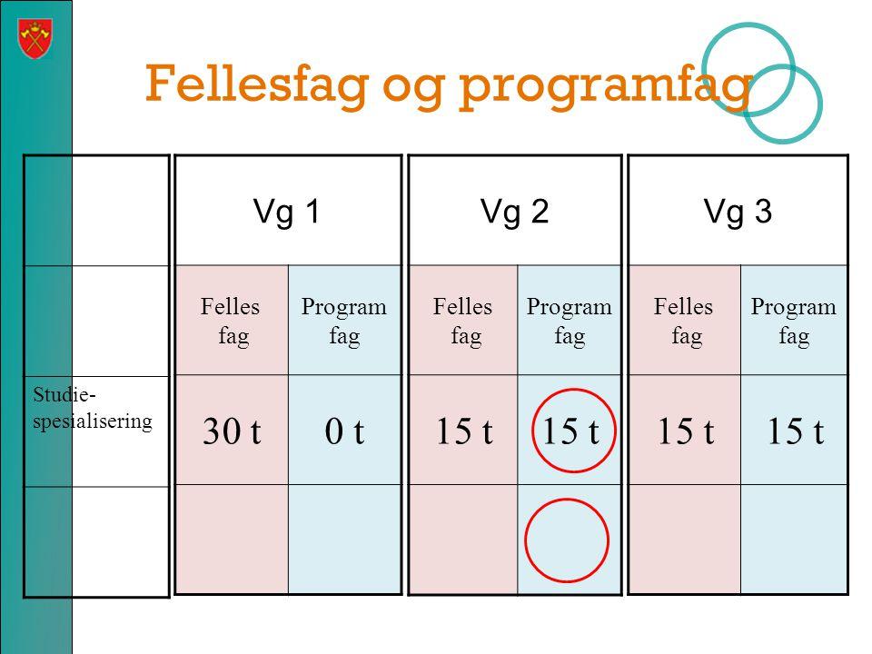 Fellesfag VG2  Norsk 4 timer  Fremmedspråk 4 timer  Kroppsøving 2 timer  Historie 2 timer  Matematikk 2P/2T 3 timer – for elever som ikke velger programfag i matematikk