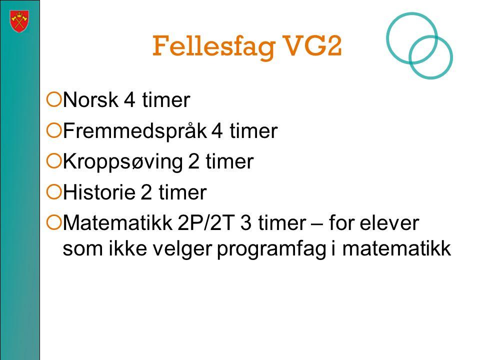 Fellesfag VG2  Norsk 4 timer  Fremmedspråk 4 timer  Kroppsøving 2 timer  Historie 2 timer  Matematikk 2P/2T 3 timer – for elever som ikke velger