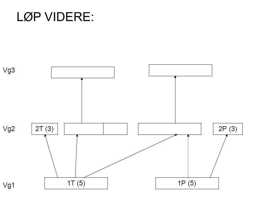 LØP VIDERE: 1T (5)1P (5) 2T (3)2P (3) Vg1 Vg2 Vg3