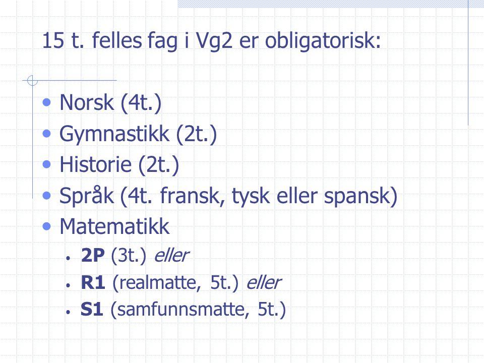 15 t. felles fag i Vg2 er obligatorisk: Norsk (4t.) Gymnastikk (2t.) Historie (2t.) Språk (4t. fransk, tysk eller spansk) Matematikk 2P (3t.) eller R1