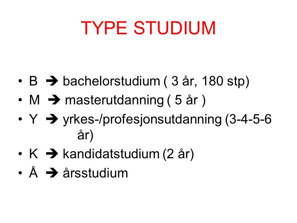 TYPE STUDIUM B  bachelorstudium ( 3 år, 180 stp) M  masterutdanning ( 5 år ) Y  yrkes-/profesjonsutdanning (3-4-5-6 år) K  kandidatstudium (2 år)