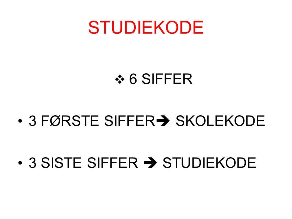 STUDIEKODE  6 SIFFER 3 FØRSTE SIFFER  SKOLEKODE 3 SISTE SIFFER  STUDIEKODE