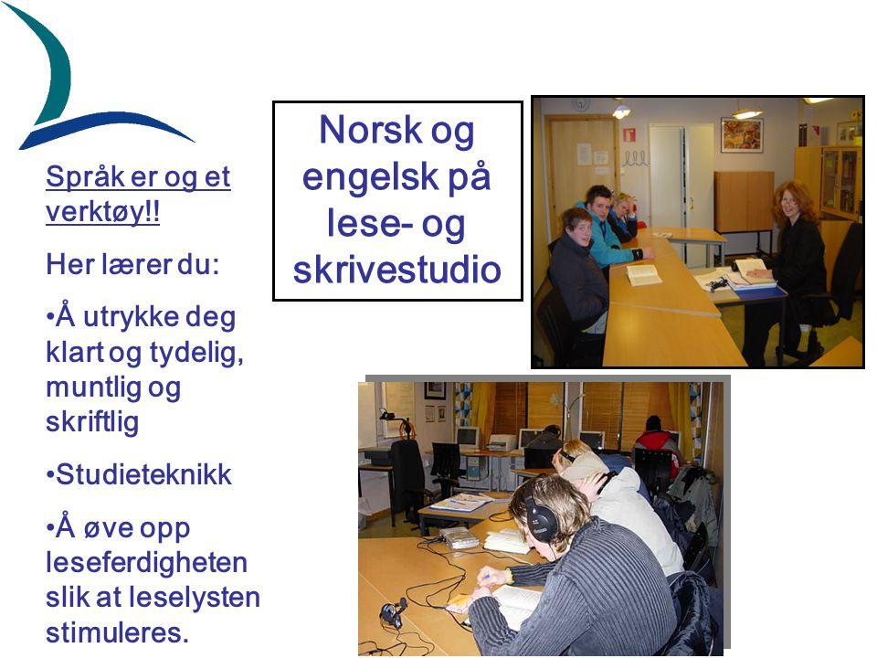 Norsk og engelsk på lese- og skrivestudio Språk er og et verktøy!! Her lærer du: Å utrykke deg klart og tydelig, muntlig og skriftlig Studieteknikk Å