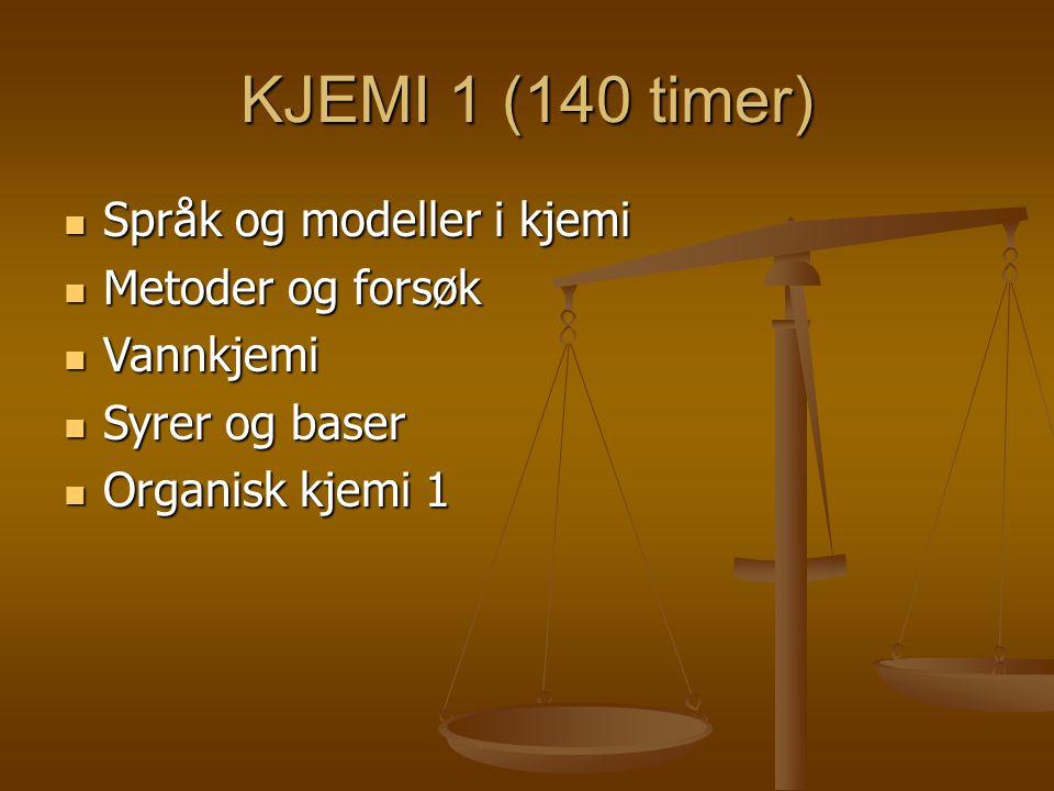 KJEMI 1 (140 timer) Språk og modeller i kjemi Språk og modeller i kjemi Metoder og forsøk Metoder og forsøk Vannkjemi Vannkjemi Syrer og baser Syrer og baser Organisk kjemi 1 Organisk kjemi 1