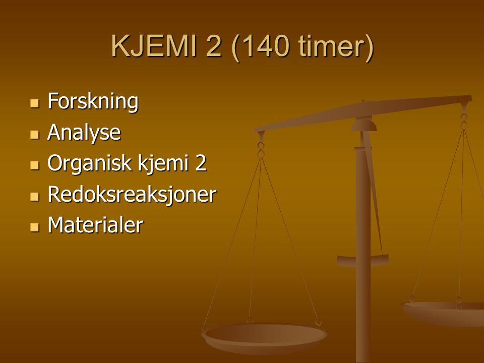 KJEMI 2 (140 timer) Forskning Forskning Analyse Analyse Organisk kjemi 2 Organisk kjemi 2 Redoksreaksjoner Redoksreaksjoner Materialer Materialer