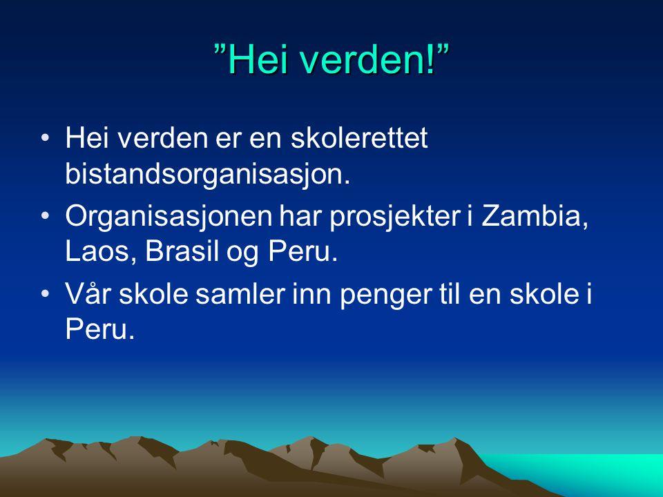 """""""Hei verden!"""" Hei verden er en skolerettet bistandsorganisasjon. Organisasjonen har prosjekter i Zambia, Laos, Brasil og Peru. Vår skole samler inn pe"""