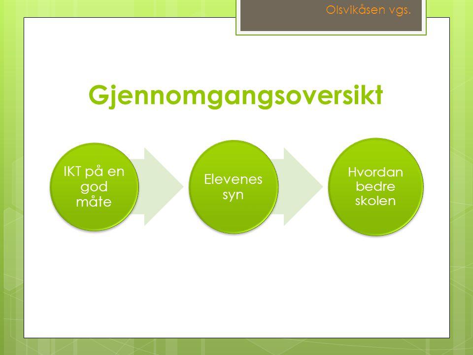 IKT på en god måte Elevenes syn Hvordan bedre skolen Gjennomgangsoversikt Olsvikåsen vgs.