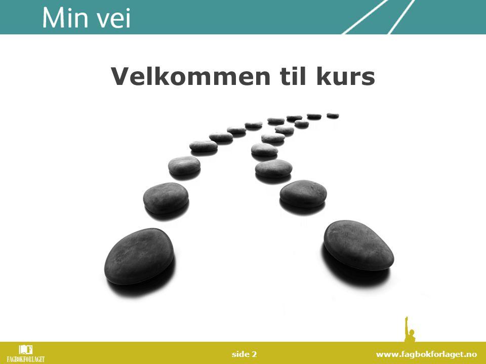 www.fagbokforlaget.noside 3 Kursene i Min vei Veien inn Veien videre Veien fram Veien fram - Yrkesnorsk Helsenorsk Norsk på nytt