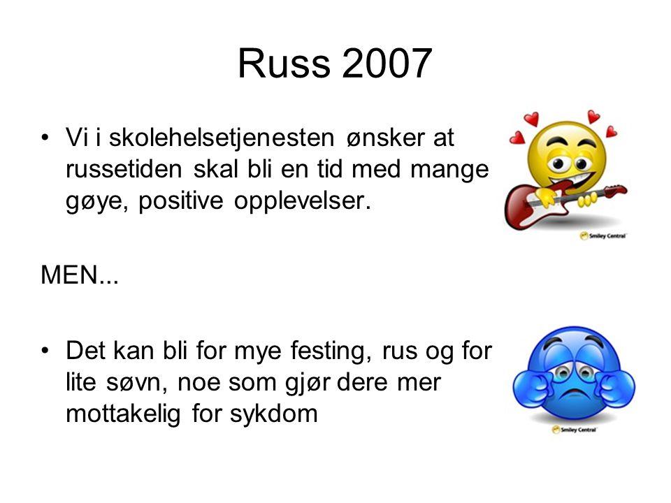 Russ 2007 Vi i skolehelsetjenesten ønsker at russetiden skal bli en tid med mange gøye, positive opplevelser. MEN... Det kan bli for mye festing, rus