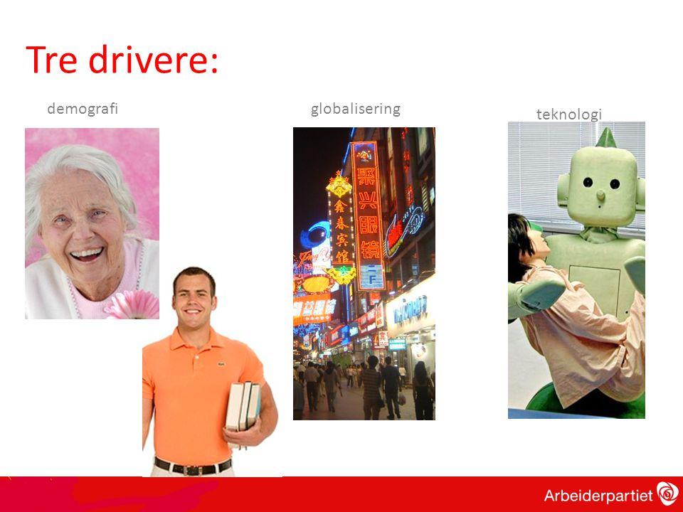 globalisering teknologi demografi Tre drivere: