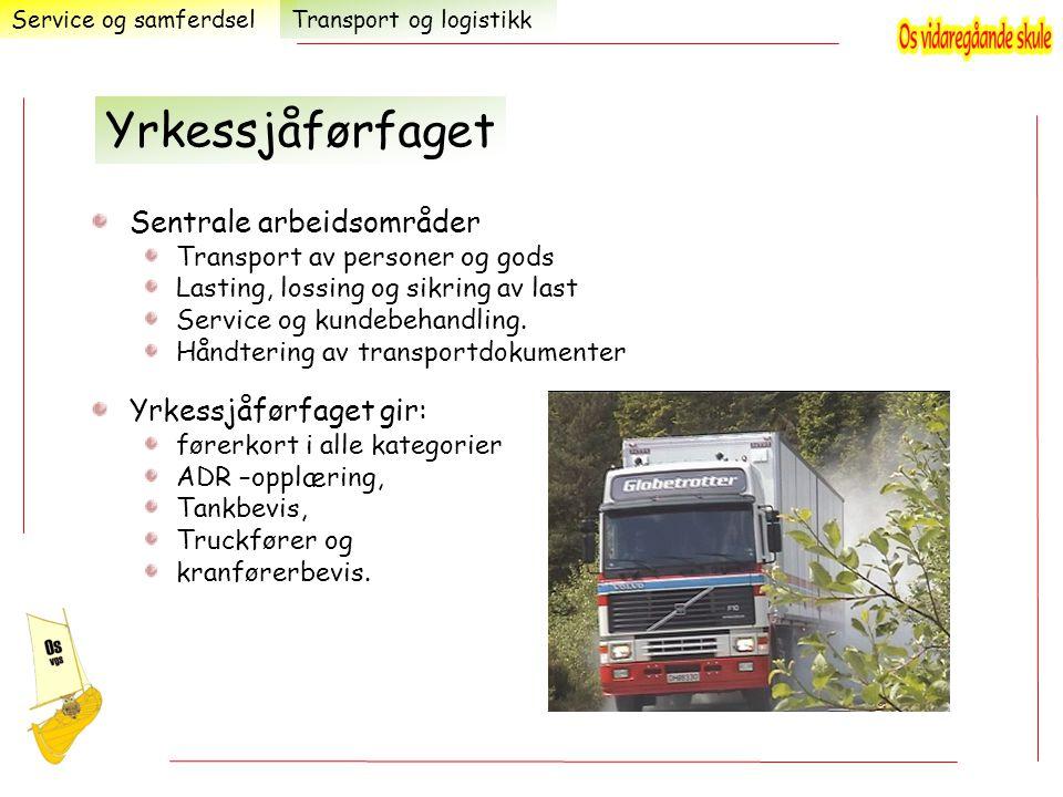 Sentrale arbeidsområder Transport av personer og gods Lasting, lossing og sikring av last Service og kundebehandling. Håndtering av transportdokumente