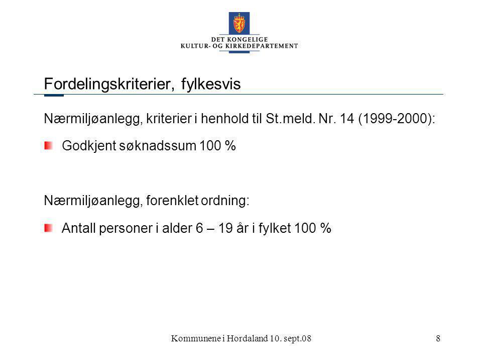 Kommunene i Hordaland 10. sept.089 Fordelingskriterier Kriterier skal vurderes høsten 2008.
