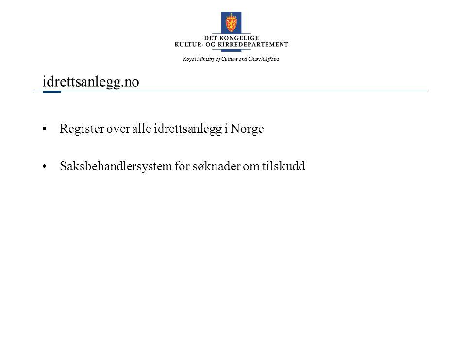 Royal Ministry of Culture and Church Affairs idrettsanlegg.no Register over alle idrettsanlegg i Norge Saksbehandlersystem for søknader om tilskudd