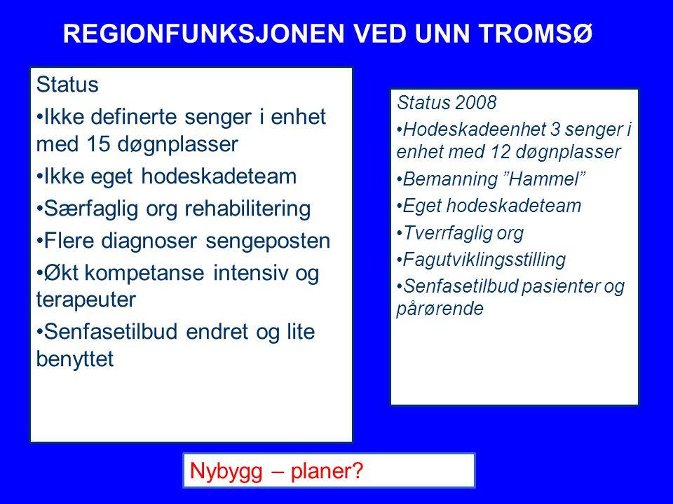 """Status 2008 Hodeskadeenhet 3 senger i enhet med 12 døgnplasser Bemanning """"Hammel"""" Eget hodeskadeteam Tverrfaglig org Fagutviklingsstilling Senfasetilb"""