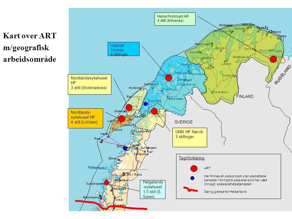 Kart over ART m/geografisk arbeidsområde ART Her finnes én person som yter utadrettede tjenester i forhold til personer som har vært innlagt i spesial