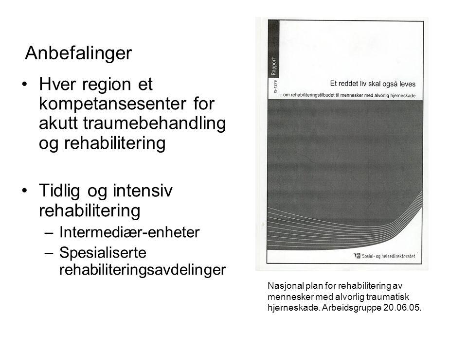 Anbefalinger Hver region et kompetansesenter for akutt traumebehandling og rehabilitering Tidlig og intensiv rehabilitering –Intermediær-enheter –Spes