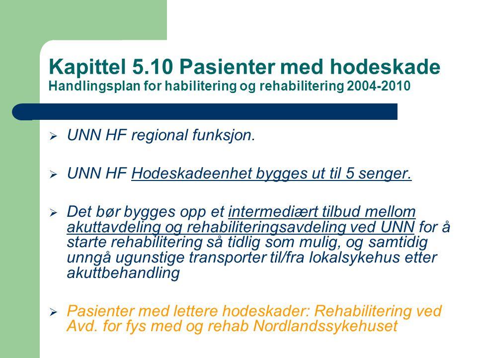  UNN HF regional funksjon.  UNN HF Hodeskadeenhet bygges ut til 5 senger.  Det bør bygges opp et intermediært tilbud mellom akuttavdeling og rehabi