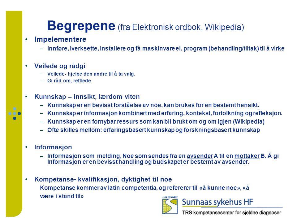 Begrepene (fra Elektronisk ordbok, Wikipedia) Impelementere –innføre, iverksette, installere og få maskinvare el.