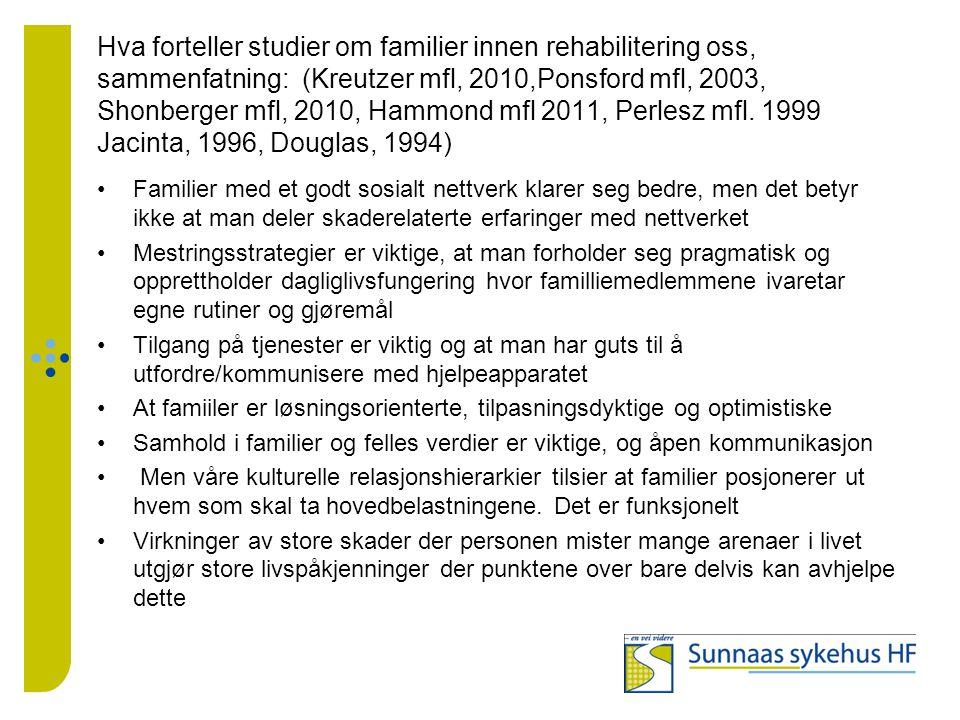Hva forteller studier om familier innen rehabilitering oss, sammenfatning: (Kreutzer mfl, 2010,Ponsford mfl, 2003, Shonberger mfl, 2010, Hammond mfl 2