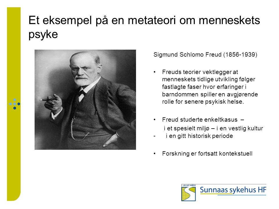 Et eksempel på en metateori om menneskets psyke Sigmund Schlomo Freud (1856-1939) Freuds teorier vektlegger at menneskets tidlige utvikling følger fas