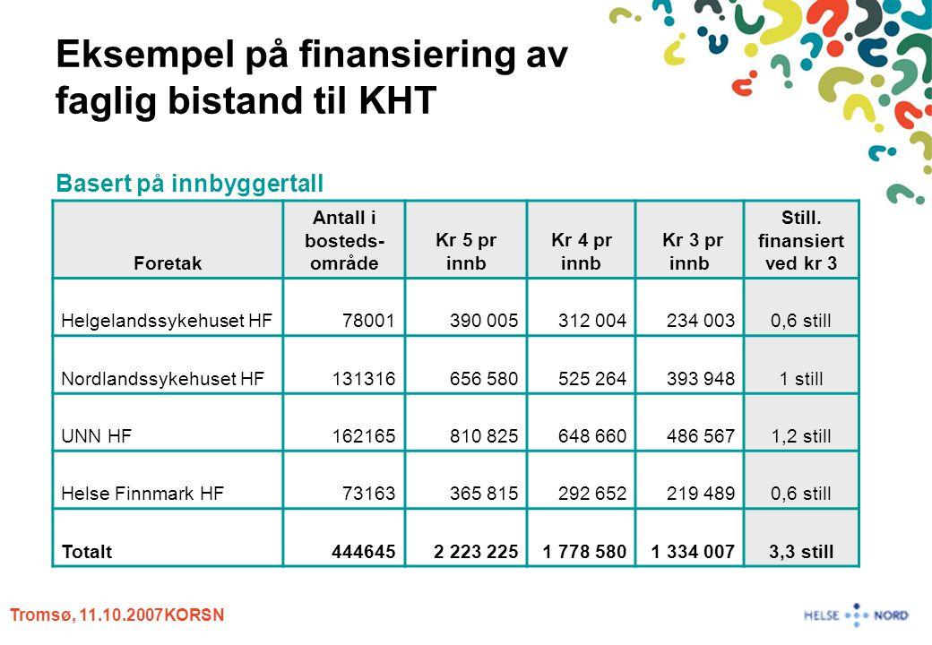 Tromsø, 11.10.2007KORSN Eksempel på finansiering av faglig bistand til KHT Basert på innbyggertall Foretak Antall i bosteds- område Kr 5 pr innb Kr 4