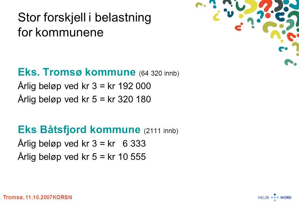 Tromsø, 11.10.2007KORSN Stor forskjell i belastning for kommunene Eks. Tromsø kommune (64 320 innb) Årlig beløp ved kr 3 = kr 192 000 Årlig beløp ved