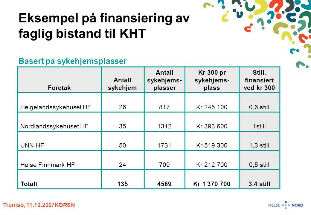 Tromsø, 11.10.2007KORSN Eksempel på finansiering av faglig bistand til KHT Basert på sykehjemsplasser Foretak Antall sykehjem Antall sykehjems- plasse
