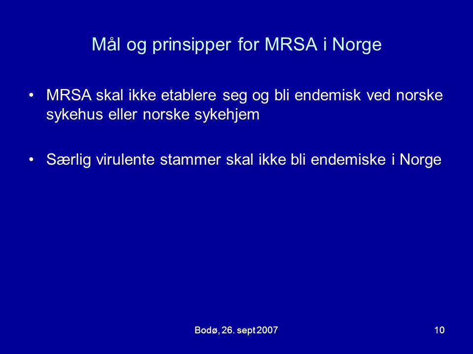 Bodø, 26. sept 200710 Mål og prinsipper for MRSA i Norge MRSA skal ikke etablere seg og bli endemisk ved norske sykehus eller norske sykehjem Særlig v