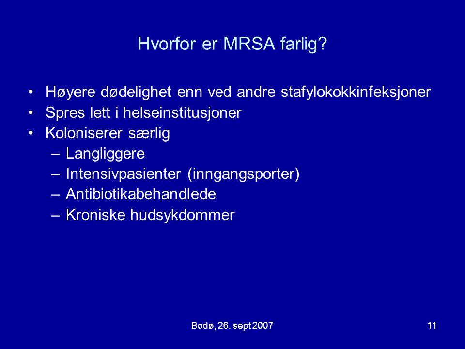 Bodø, 26. sept 200711 Hvorfor er MRSA farlig? Høyere dødelighet enn ved andre stafylokokkinfeksjoner Spres lett i helseinstitusjoner Koloniserer særli