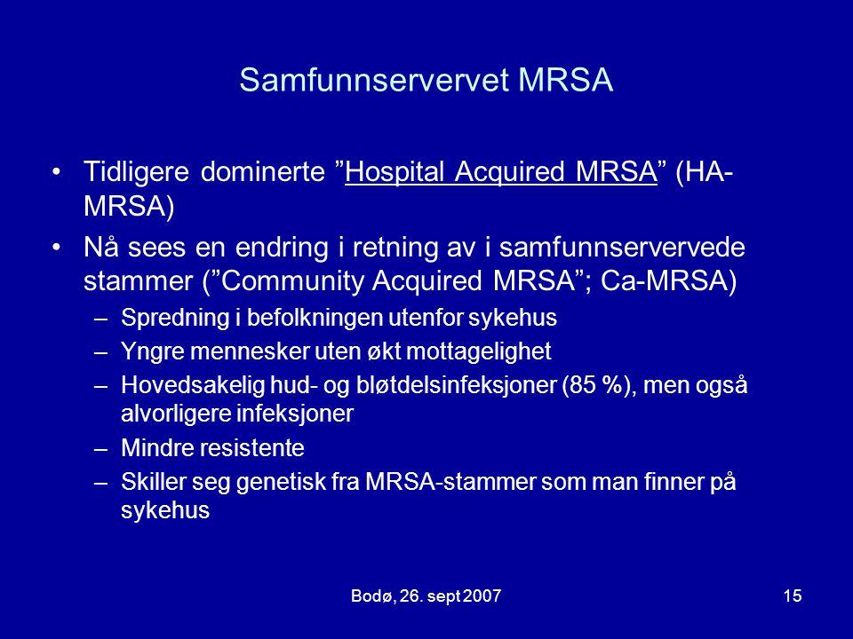 """Bodø, 26. sept 200715 Samfunnservervet MRSA Tidligere dominerte """"Hospital Acquired MRSA"""" (HA- MRSA) Nå sees en endring i retning av i samfunnserverved"""