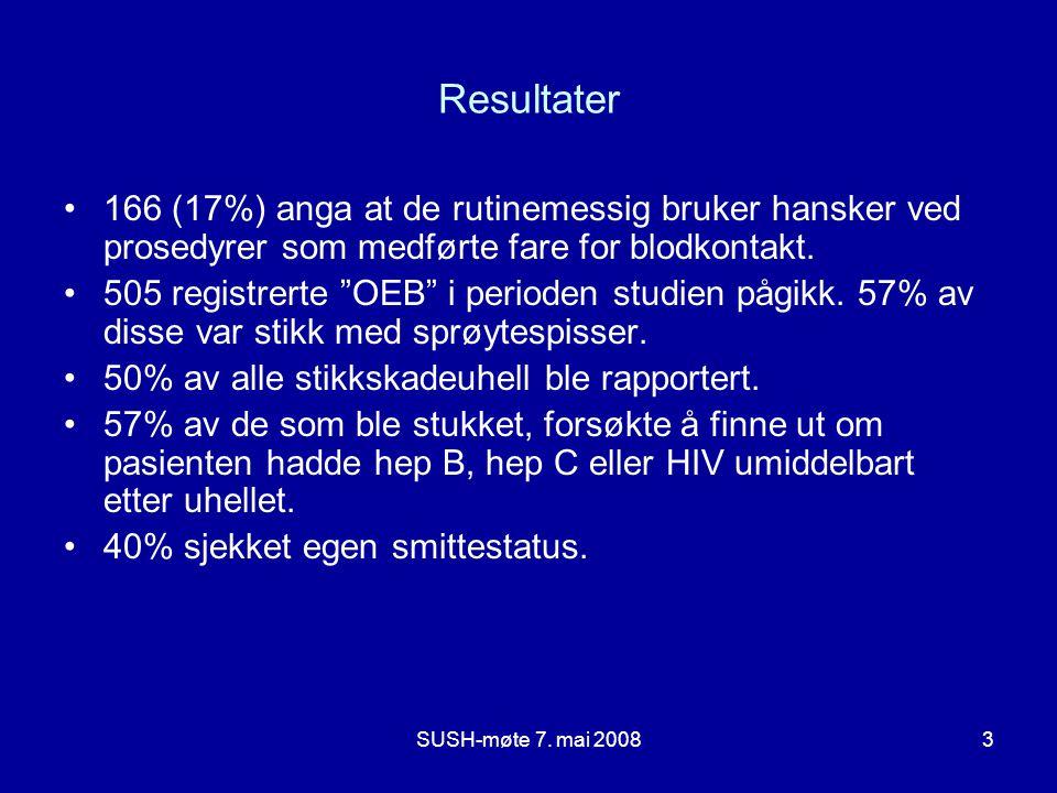 """SUSH-møte 7. mai 20083 Resultater 166 (17%) anga at de rutinemessig bruker hansker ved prosedyrer som medførte fare for blodkontakt. 505 registrerte """""""