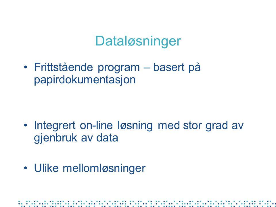 Dataløsninger Frittstående program – basert på papirdokumentasjon Integrert on-line løsning med stor grad av gjenbruk av data Ulike mellomløsninger