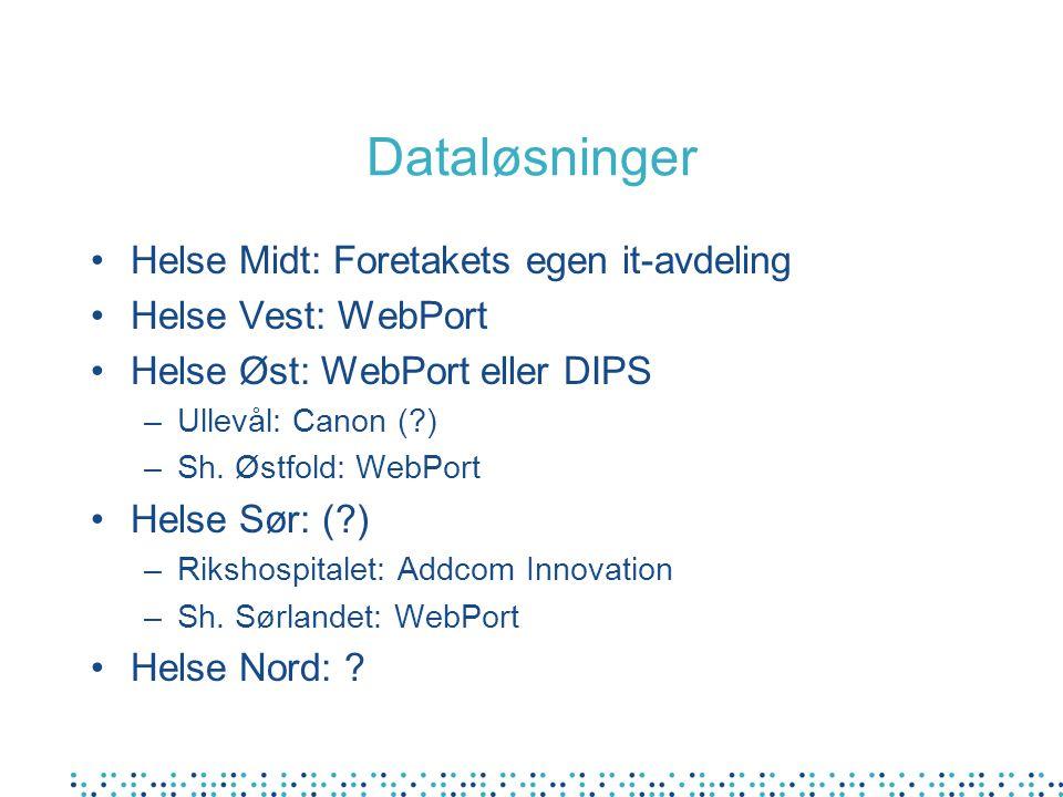 Dataløsninger Helse Midt: Foretakets egen it-avdeling Helse Vest: WebPort Helse Øst: WebPort eller DIPS –Ullevål: Canon (?) –Sh. Østfold: WebPort Hels
