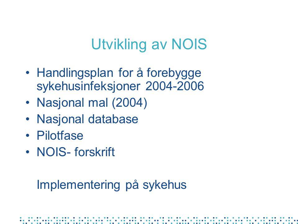 Utvikling av NOIS Handlingsplan for å forebygge sykehusinfeksjoner 2004-2006 Nasjonal mal (2004) Nasjonal database Pilotfase NOIS- forskrift Implement