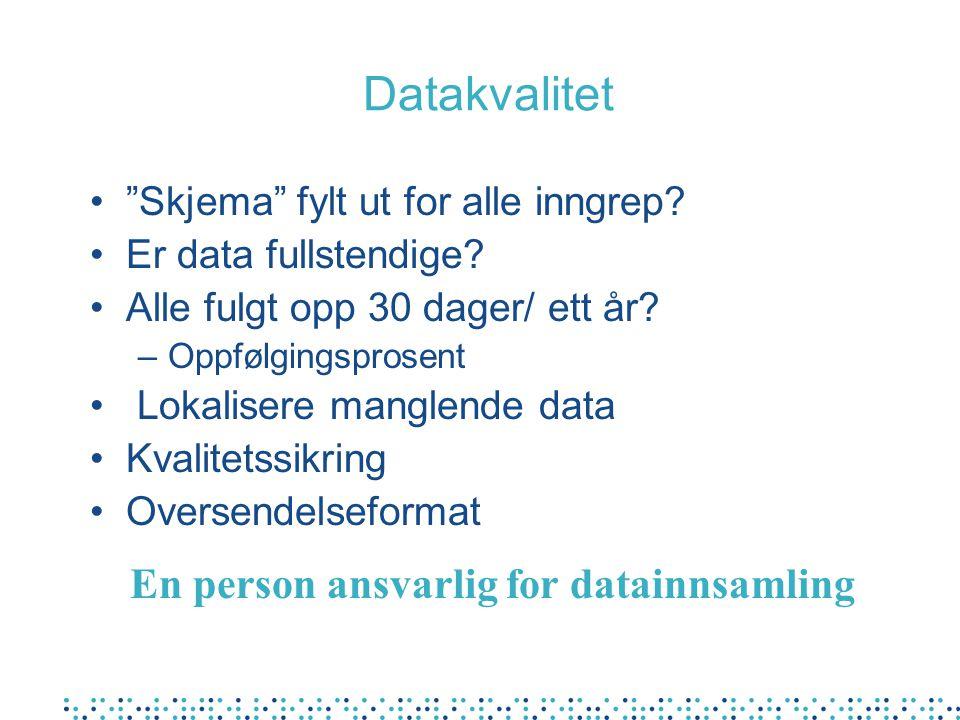 """Datakvalitet """"Skjema"""" fylt ut for alle inngrep? Er data fullstendige? Alle fulgt opp 30 dager/ ett år? –Oppfølgingsprosent Lokalisere manglende data K"""