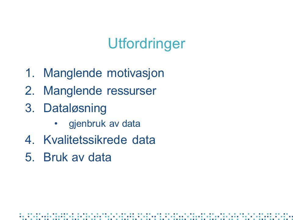 Utfordringer 1.Manglende motivasjon 2.Manglende ressurser 3.Dataløsning gjenbruk av data 4.Kvalitetssikrede data 5.Bruk av data